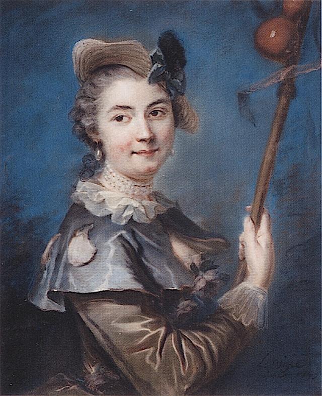 1745 Pompadour en pelerine by Louis Vigée (location unknown to gogm) from www.pastellists.com