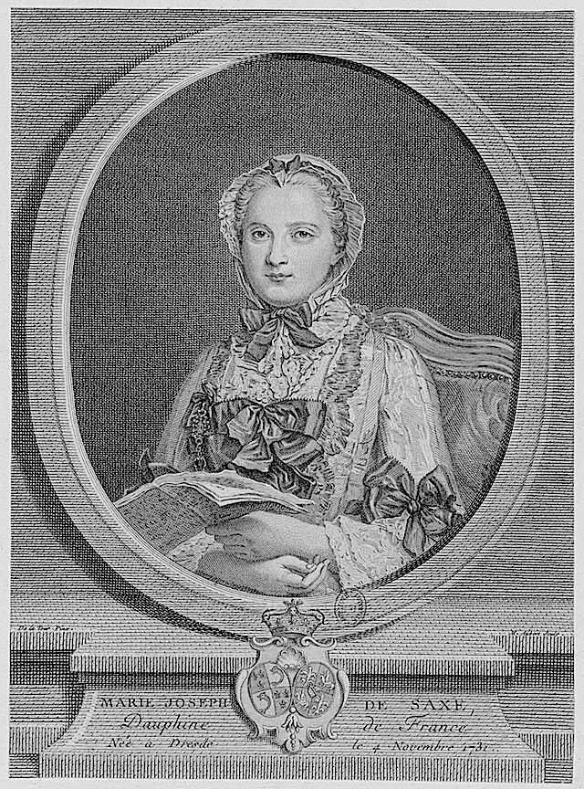 1747 (?) Princess Marie Josèphe of Saxony, Dauphine of France by Michel Guillaume Aubert after Maurice Quentin de La Tour (Bibliothèque nationale de France)