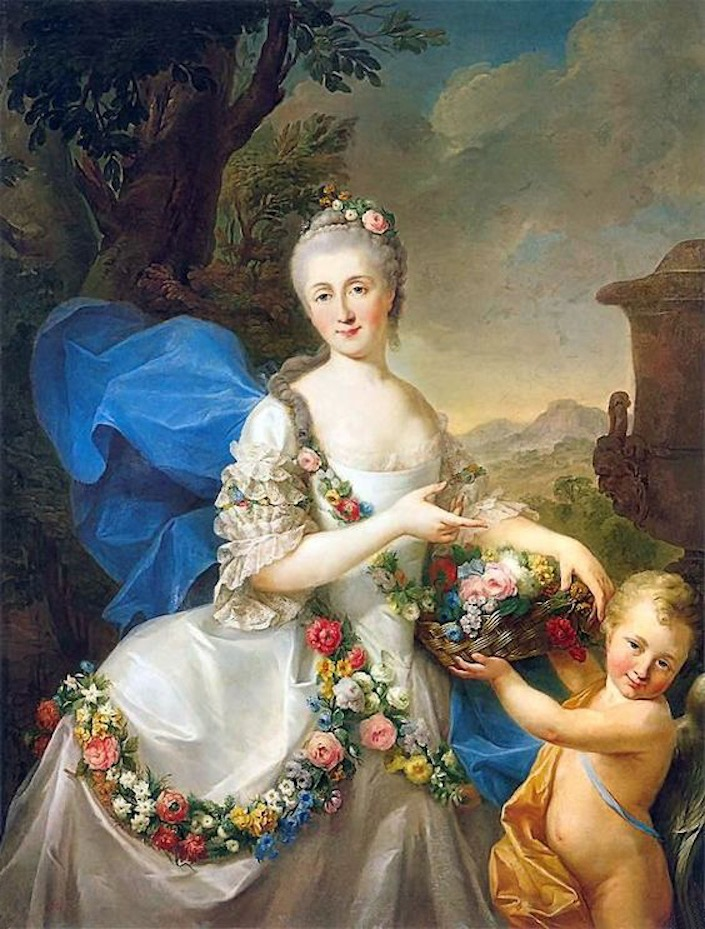 1757 Apolonia Poniatowska, nee Ustrzycka and her son Stanisław as Flora and Amor by Marcello Bacciarelli (Muzeum Pałacu Króla Jana III w Wilanowie - Warsawa, Poland) From Pinterest search fixed bottom fifth of left edge deprint X 1.25