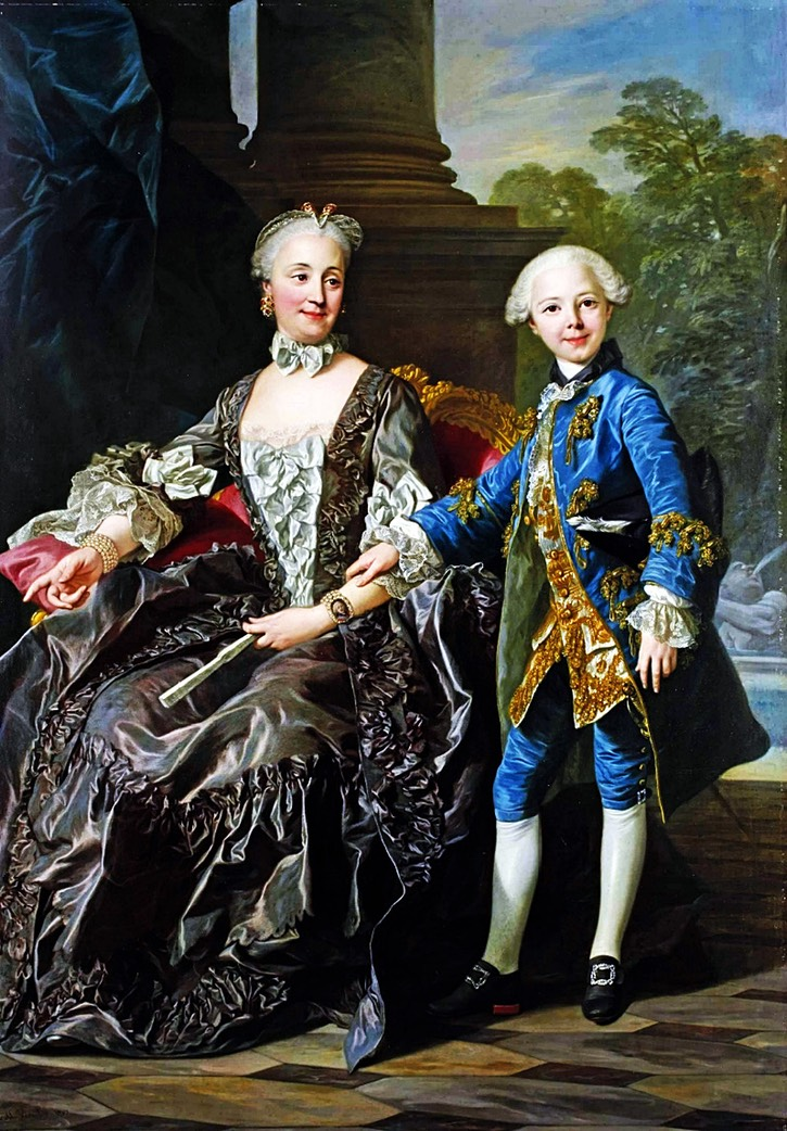 1757 Duchess of Choiseul, probably née Louise-Honorine Crozat du Châtel, and her son after Louis Michel van Loo (location ?) From karoline-von-manderscheid.tumblr.com/image/117224872913