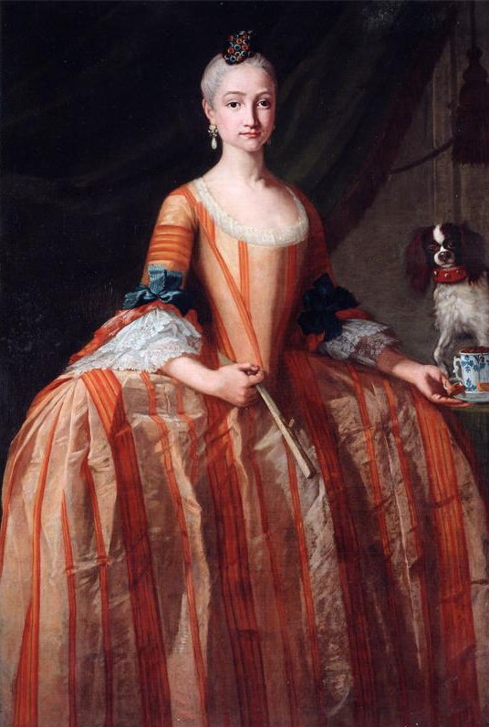 1758-1759 Infanta Maria Josefa de Borbon with fan and cup of chocolate by Giusseppe Bonito (Galeria Caylus)