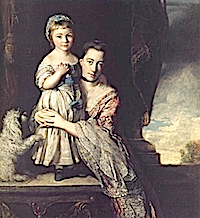 1759 Georgiana, Countess Spencer, nee Poyntz, and her daughter by Sir Joshua Reynolds (location unknown to gogm)