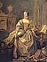 1759 Marquise de Pompadour wearing gold and brown dress by François Boucher (Louvre)