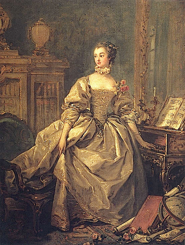 1759 Pompadour wearing gold and brown dress by Francois Boucher (Louvre)