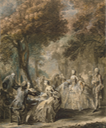 1760-1761 Society Taking a Promenade by Gabriel de Saint-Aubin (State Hermitage Museum - St. Petersburg Russia)