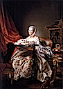 1763 - 1764 Posthumous portrait of Madame de Pompadour by François Drouais (National Gallery, London)