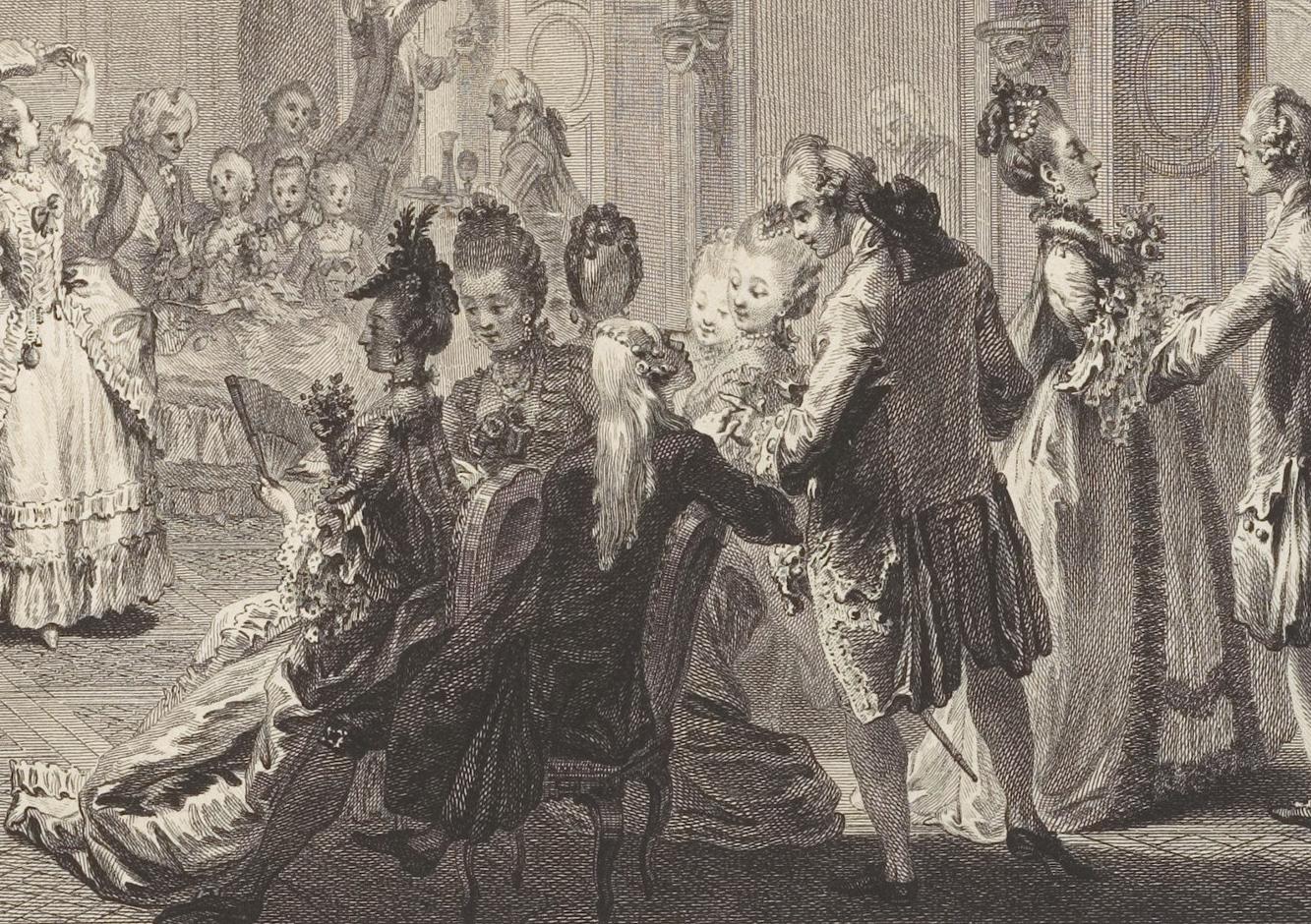 1774 le bal par by antoine jean duclos french paris for Miroir coiffure st augustin