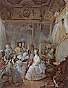 1777 Marie-Antoinette in her apartments in Versailles, surrounded by members of her court by Jean-Baptiste-Andre d'Agoty (Versailles)