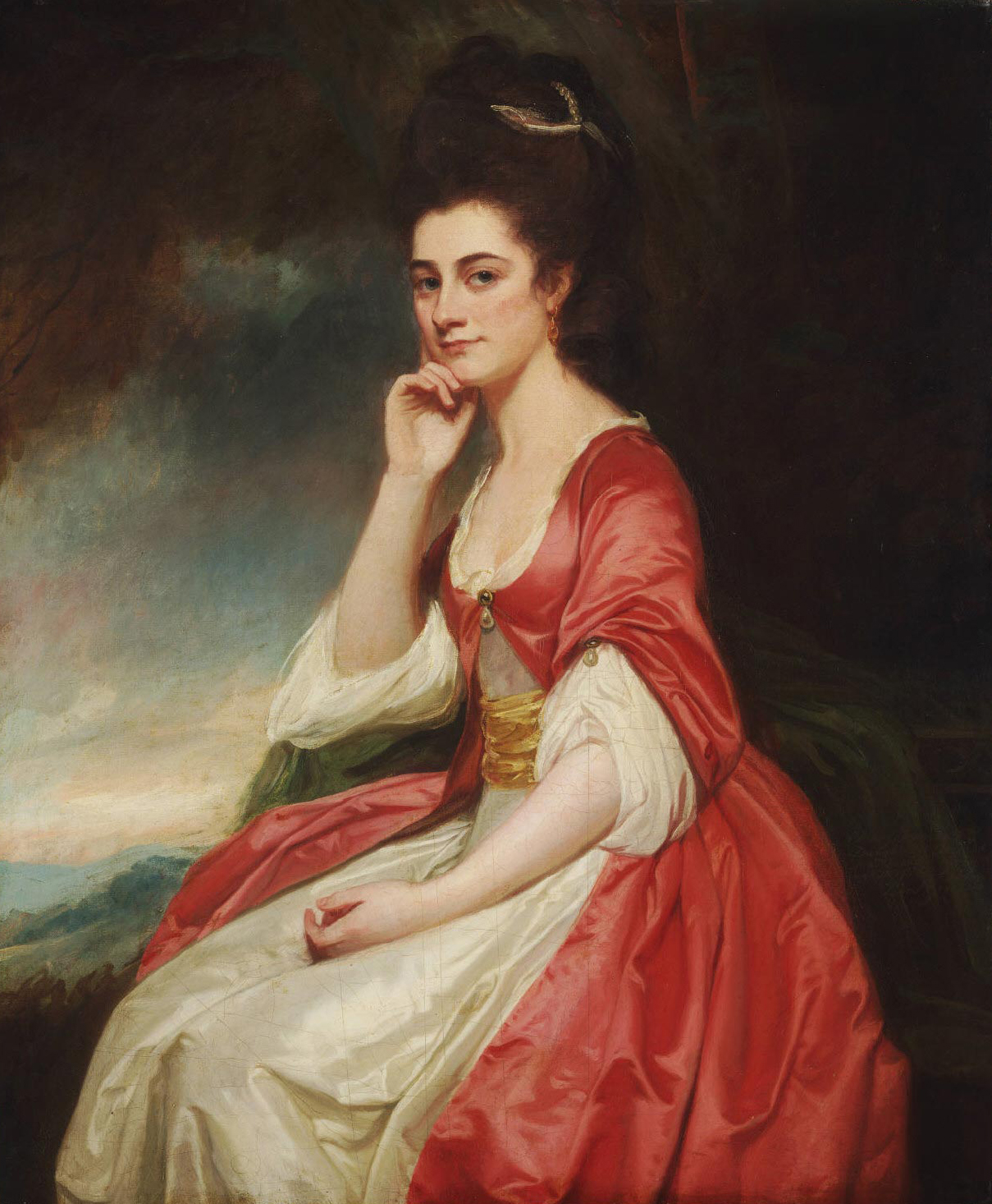 ... rests her head on her hand while wearing a British casual tunic under  an over-dress secured by a single clasp in this Romney portrait from 1780 -1781.