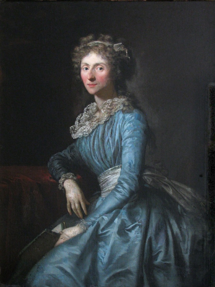 1780s Lady-in-Waiting (to Dorothea von Medem) Anna Maria Frederike von Taube in blue chemise by Anton Graff (Rundāles pils muzejs - Pilsrundāle, Latvia) Wm via interest.com:donaldbeaubier:18th-century-female-portraits: trimmed fixed
