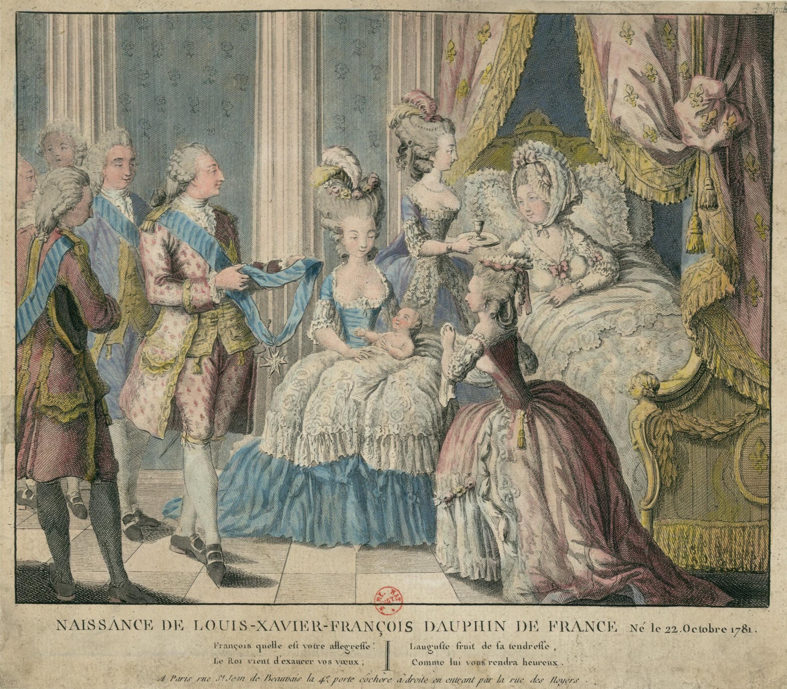 1781 (22 October) Naissance de Louis-Xavier-François, Dauphin de France