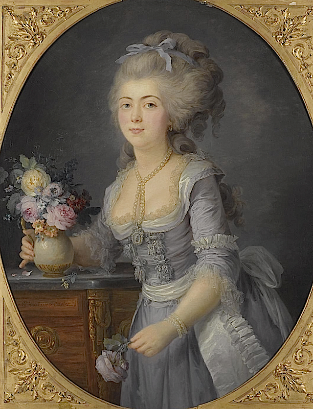 1781 (probable exh date) Adélaïde Genet, Madame Auguié (1758-1794), the sister of Madame Campan and one of the last femme de chambre of Marie Antoinette by Anne Vallayer-Coster (auctioned)2