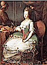 1782-1787 Maria Feodorovna wearing a hooped skirt - olive-green version by J. Pullman after Pompeo Batoni (location unknown to gogm)