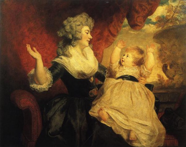 1784, 1786 (exhibited) Duchess of Devonshire with her infant daughter Lady Georgiana Cavendish (b. 1783) by Sir Joshua Reynolds (Devonshire collection) UPGRADE From almaarkleinergroeien.blogspot.com:2011:08: