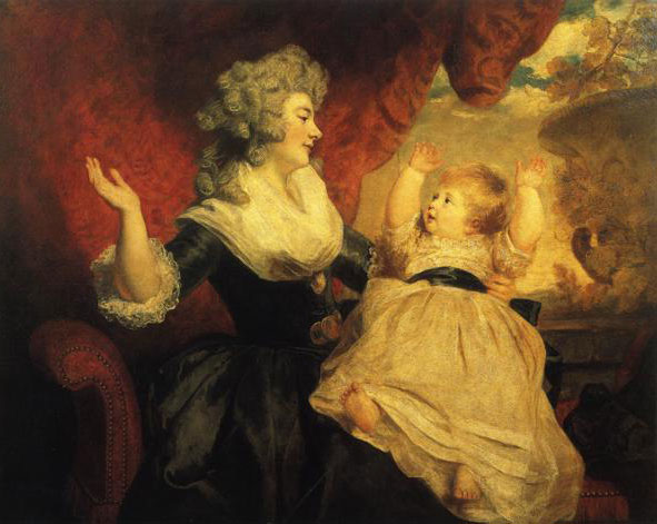 1784, 1786 (exhibited) Duchess of Devonshire with her infant daughter Lady Georgiana Cavendish (b. 1783) by Sir Joshua Reynolds (Devonshire collection)