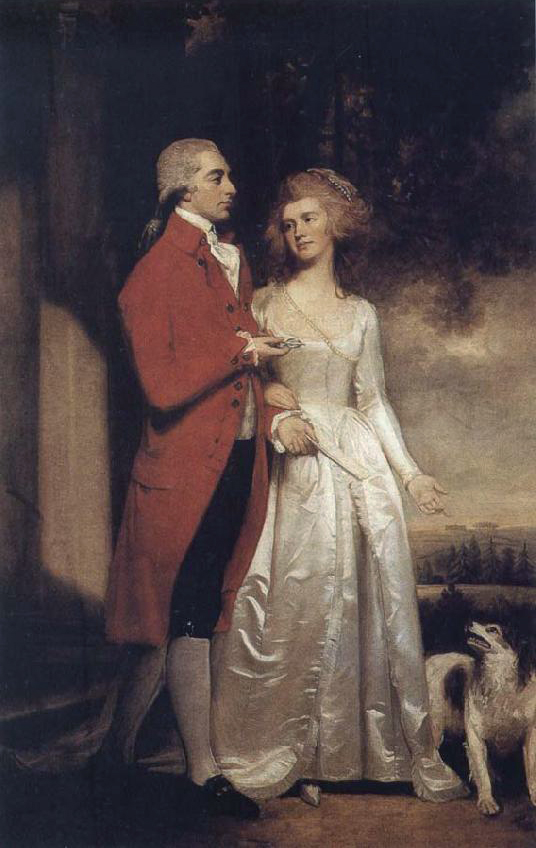 1786 Sir Christopher and Lady Sykes strolling in the garden at Sledmere by George Romney (location unknown) From 18thcenturyblog.com:2012:03:george-romney?