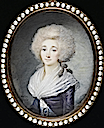 1788 Elizabeth Philippine Marie Helene of France wearing purple open robe over white dress and white fichu, her blue waistsash held with a pearl-edged buckle bearing initial 'L' by Maximilien Villers (Bonham's)