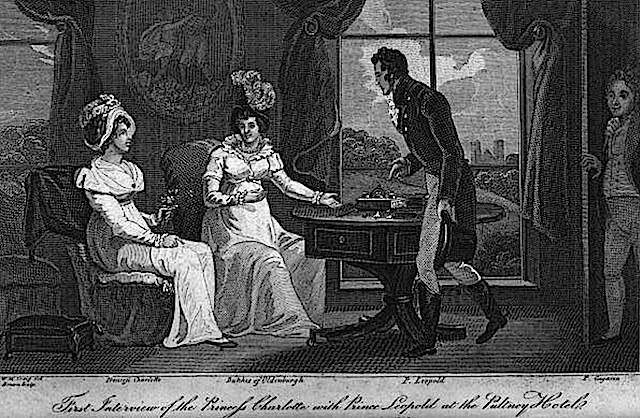 1818 (or before) First meeting between Princess Charlotte of Wales and Prince Leopold of Saxe-Coburg-Saalfeld