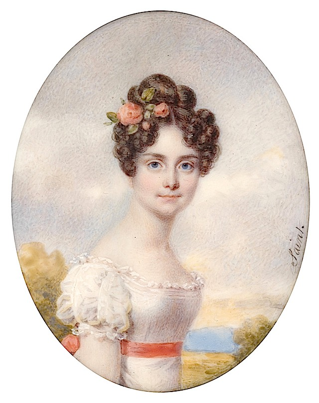 1820s Colette de Reiset, Baronesse Beurnoville miniature by Daniel Saint (auctioned) UPGRADE From pinterest.com:ustava51:женский-образ-на-фарфоре-слоновой-кости: