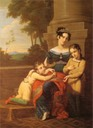 1823-1824 Louise of Saxe-Gotha-Altenburg, duchess of Saxe-Coburg and Gotha, with her children by Ludwig Döll (Schloss Ehrenburg - Coburg, Bayern, Germany) Wm