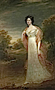 1825 Ann Maria Harriet de Rhodes (1793-1849), full-length, in a white dress and pink chiffon wrap, a wooded landscape beyonf by Sir William Beechey (auctioned by Christie's)