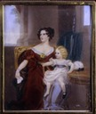 1828 Harriet, Countess Gower, and her Daughter, Lady Elizabeth Georgiana Sutherland-Leveson-Gower portrait Miniature by Rehy or Rahy after Sir Thomas Lawrence (Mount Stewart House, Northern Ireland)