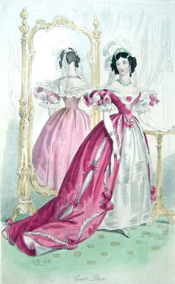 1833 English Court Dresses In Deep Rose Grand Ladies Gogm