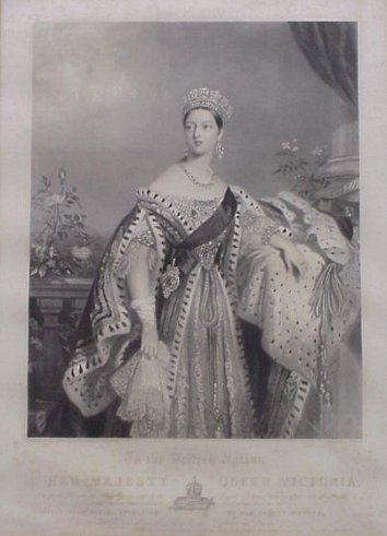 1837 Queen Victoria on the occasion of her speech at the House of Lords where she prorogated the Parliament of the United Kingdom in July 1837 (her first public appearance as the Queen) by C. E. Wagstaff after Alfred Edward Chalon