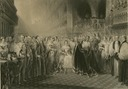 1838 Queen Victoria coronation black and white print