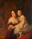 1840 Feodora, Princess of Hohenlohe-Langenburg with her daughter Princess Adelaide by Sir George Hayter (Royal Collection) Wm despot