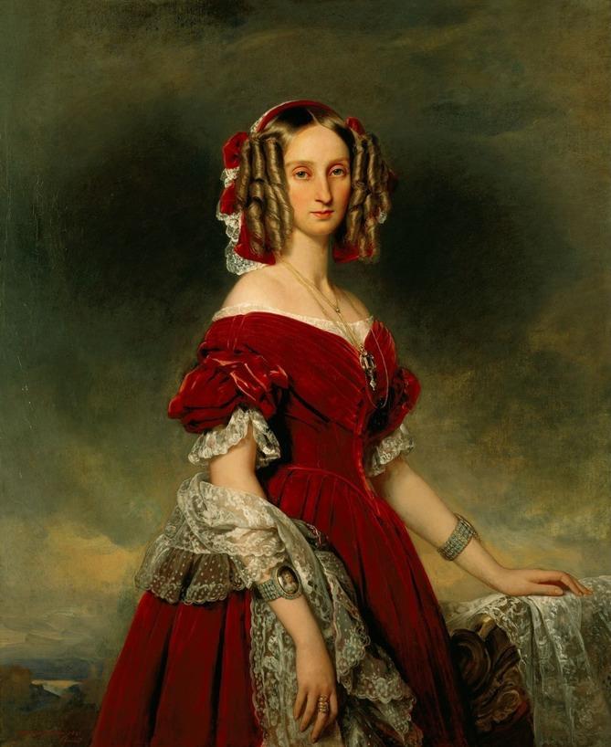 1841 Louise Marie Thérèse Charlotte Isabelle d'Orléans, reine des Belges by Franz Xaver Winterhalter (Châteaux de Versailles et de Trianon - Versailles, Île-de-France, France) From WikiArt