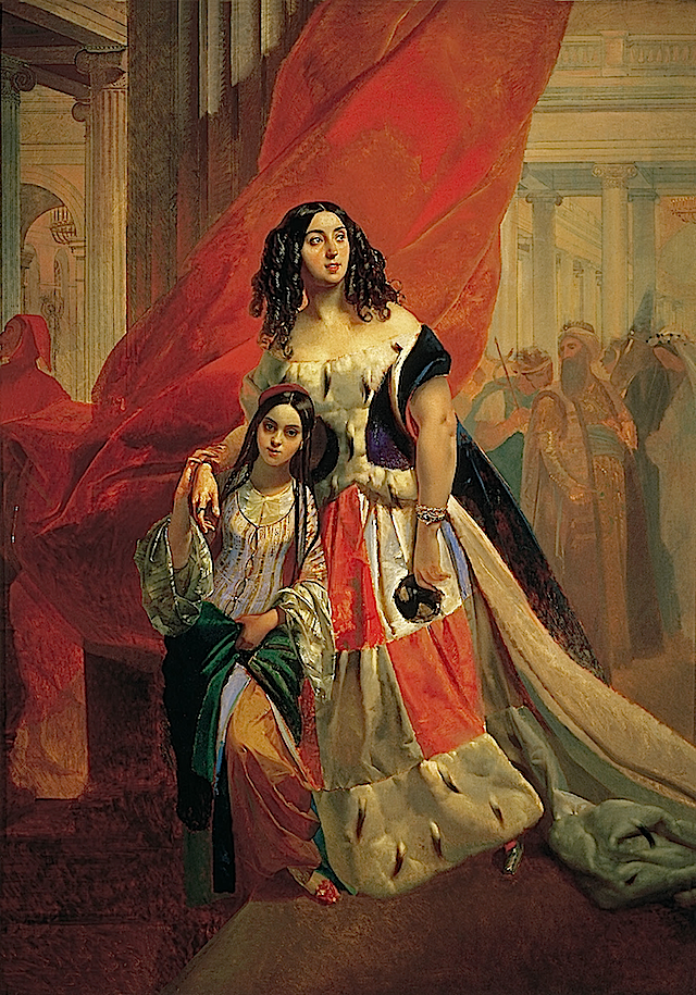 1842 or earlier Countess Julia Samoilova and Her Ward Amacilia Pacini Leaving a Ball by Karl Brullov (State Russian Museum, Saint Petersburg)