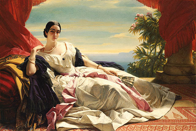 1843 Portrait of Leonilla, Princess of Sayn-Wittgenstein-Sayn by Franz Xavier Winterhalter (Getty Museum, Los Angeles)