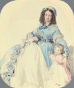 1845 (estimate based on age of youngest child) study of Princess Clémentine, with her sons, Philip and Augustus by Franz Xaver Winterhalter (auctioned)