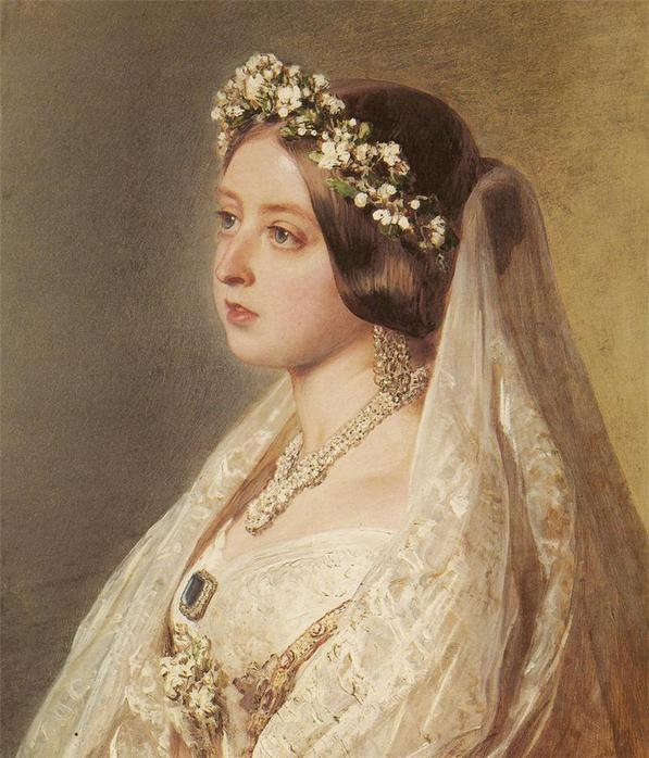 1847 Queen Victoria in wedding veil by Franz Xaver Winterhalter (Royal collection) from www.liveinternet.ru:users:katish_09: x1