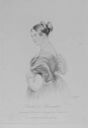 1850 (issued) Engraving of The Countess of Blessington by F. L. Lewis after a drawing by Edwin Landseer (National Library of Ireland - Dublin Ireland)