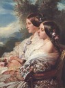 1852 The Cousins - Queen Victoria and Victoire, Duchesse de Nemours by Franz Xaver Winterhalter (Royal Collection, Windsor Castle - London UK)