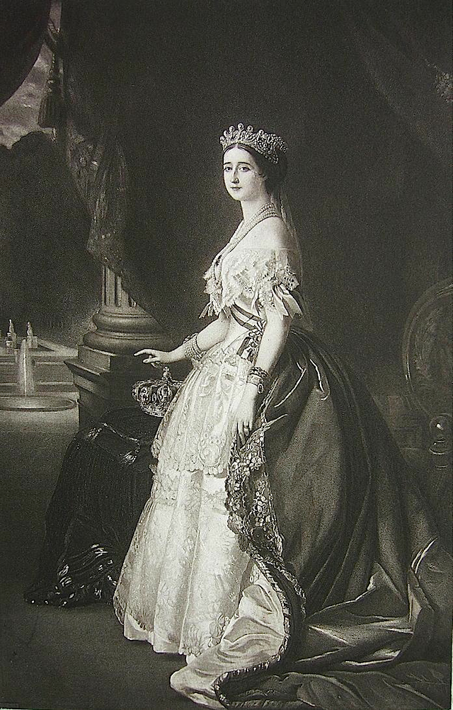 1853 Black and white of 1853 Eugénie de Montijo after Winterhalter