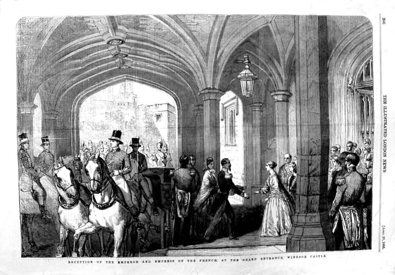 1855 Arrival of Napoléon III and Eugénie at Windsor Castle Illustrated  London News of 25(