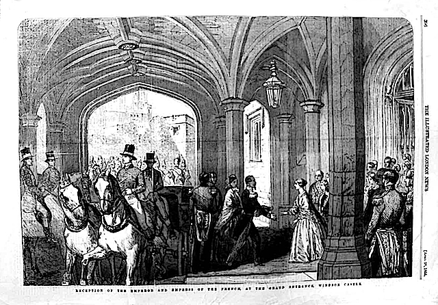 1855 Arrival of Napoléon III and Eugénie at Windsor Castle Illustrated London News of 25(?) April EB