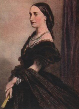 1857 Empress Carlota by J. Franck done in 1867 after 1857 portrait by E. Devaux (Musée de la Dynastie, Bruxelles Belgium) colorized at unknown time From madmonarchist.blogspot.com