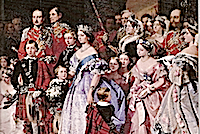 1858 Queen Victoria and her family at her daughter Princess Royal Victoria's wedding outtake from The Marriage of Victoria, Princess Royal, 25 January 1858 by John Phillip (Royal Collection)
