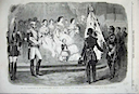 1859 Eugenie receiving Magenta flag from the Illustrated London News
