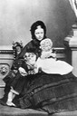 1860 Vicky with her children Wilhelm (later Kaiser) and Charlotte