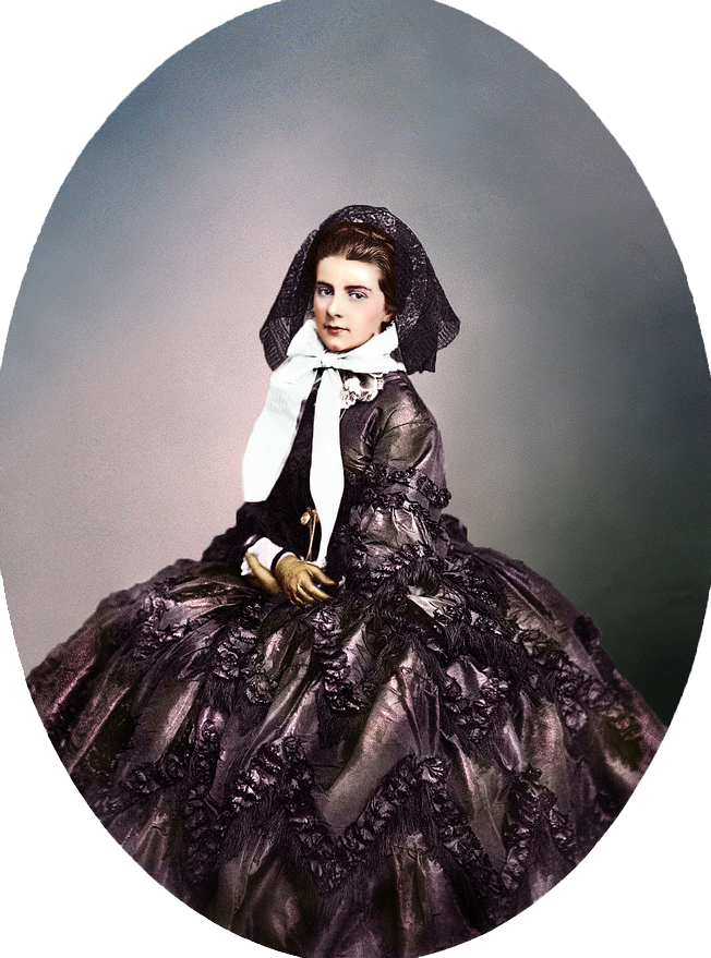 1861 Marie, Queen of Naples by ? (Royal Collection) colorized by Klimbim From pinterest.com-annas2175-sissi-