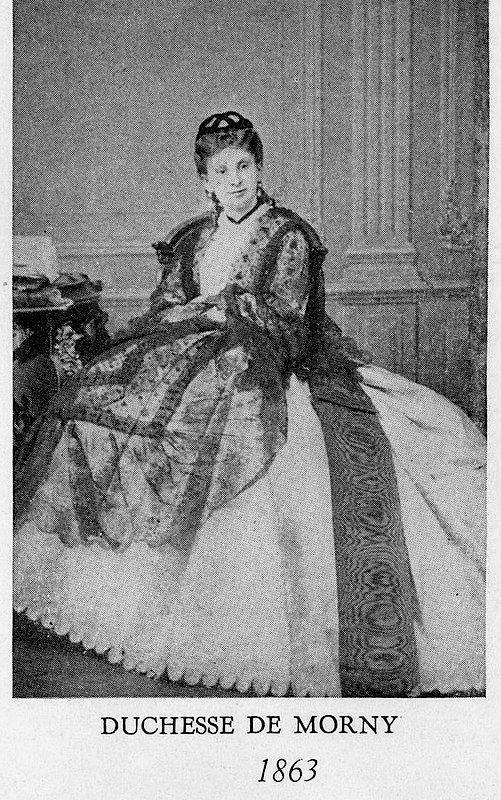 1863 duchesse de morny wearing a worth crinoline day dress