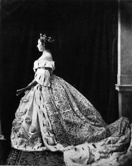 1865 Crown Princess Victoria in court dress at the coronation of King Wilhelm I of Prussia