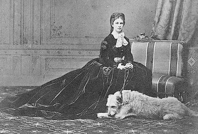 1867 Sissi in famous pose with her dog 'Shadow' by Emil Rabending detint