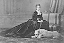 1867 Sissi in famous pose with her dog 'Shadow' by Emil Rabending
