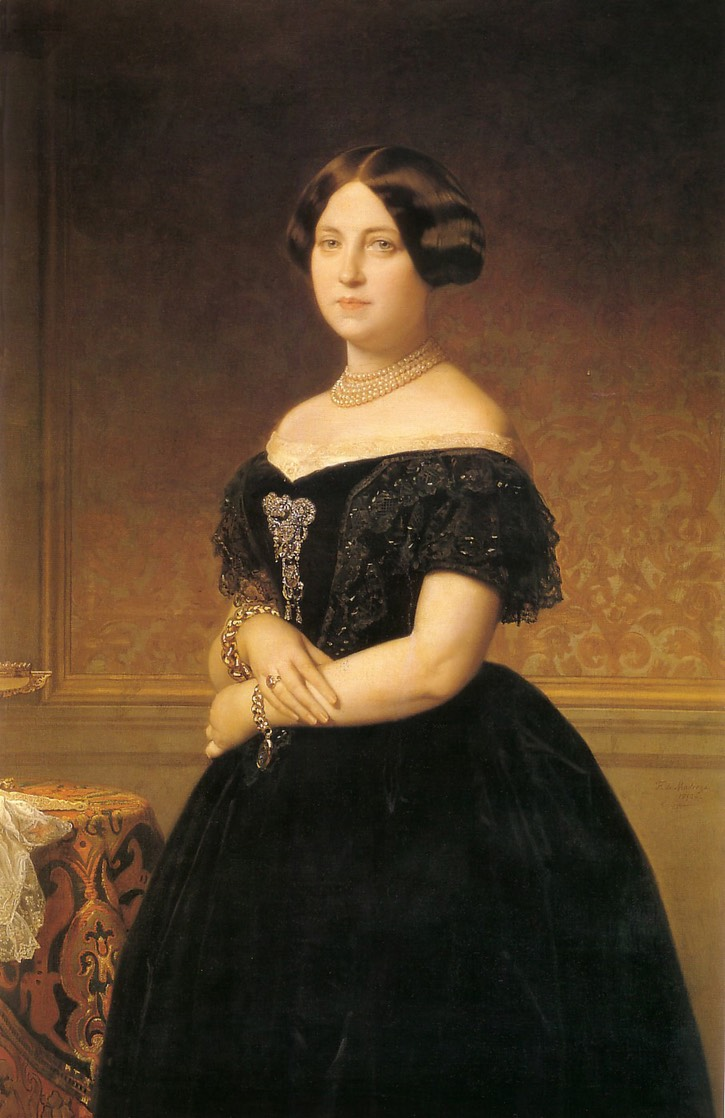 1871 María del Pilar de la Cerda ?, Duquesa de Veragua by Federico de Madrazo y Kuntz (location ?) From pinterest.com:alucasfauchon:retratos-portraits: despot deflaw fix upper left edge